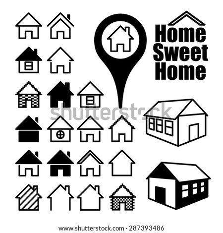 Set of home icons. Home sweet home. - stock photo