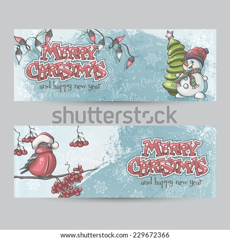 Set of horizontal banners for Christmas and the new year with a picture of a snowman and bullfinch on the branch - stock photo