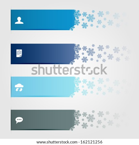 Set of horizontal lines with snowflakes, can be used for design of website, illustration. - stock photo