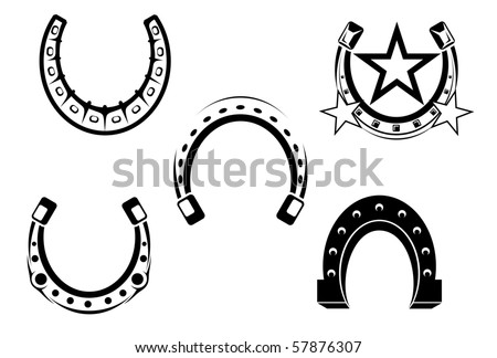 Set of horseshoes elements or logo template. Vector version also available in gallery - stock photo