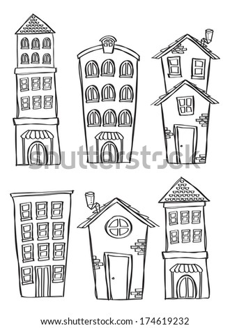 set of house and building in doodle style - stock photo