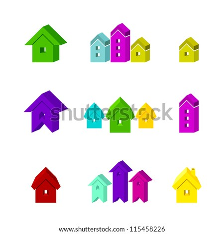 set of house icon for advertising real estate services - stock photo