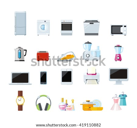 Set of household appliances design flat. Appliances household items, washing machine, kitchen appliances home, machine and equipment, refrigerator and microwave  illustration - stock photo