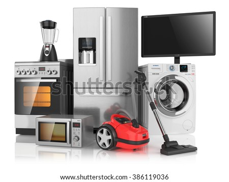 Set of household kitchen appliances, isolated on white background 3d - stock photo