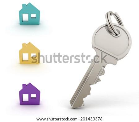 Set of houses models and Key . 3d illustration on white background - stock photo