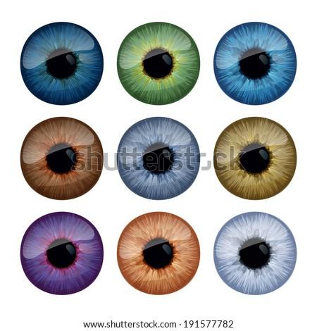 Set of human eyes iris isolated on white background. Raster version. - stock photo