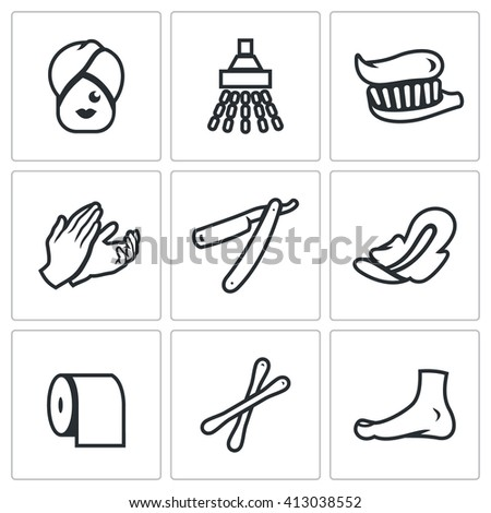 Set of Hygiene Icons. Woman, Shower, Teeth cleaning, Massage, Shaving, Feminine Pads, Toilet, Cosmetic, Pedicure. Female care of his body isolated symbols - stock photo