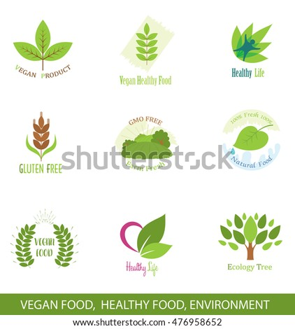 Set of Icons and Design Elements for Healthy Food, Vegan Food, Ecology.