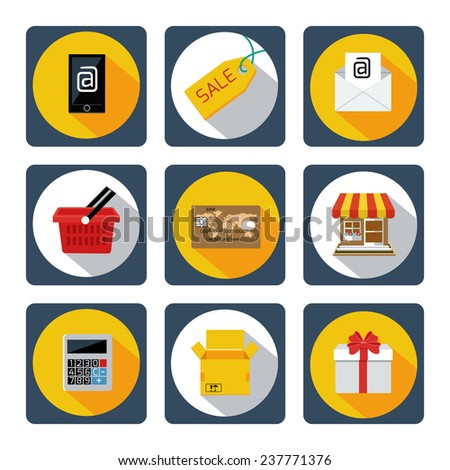 Set of 9 icons for mobile shopping, marketing, banking services with long shadows. Raster version