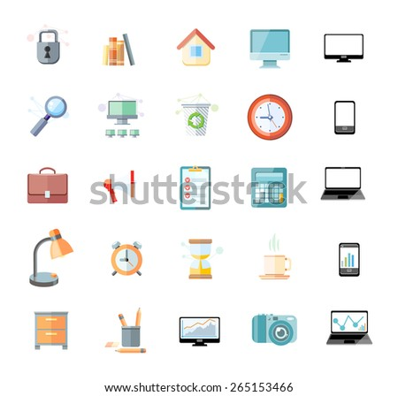 Set of icons for office and time management with digital devices and office objects on white background. Raster version - stock photo