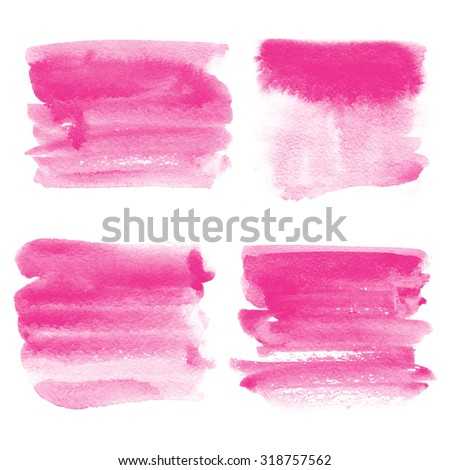 Set of icons for text watercolor. Watercolor background for textures. Abstract watercolor background. Decoration, light colored decor. Bright pink spots of paint, color fuktsii - stock photo