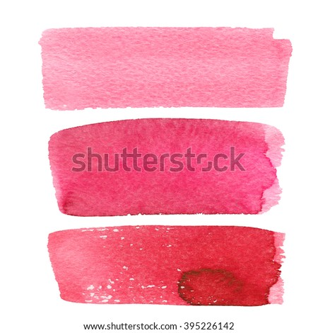 Set of icons for text watercolor. Watercolor background for textures. Decoration, light colored decor. Abstract watercolor background with colorful blots on white. Color: pink, bright pink - stock photo