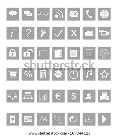 Set of icons for the Web in gray colors - stock photo