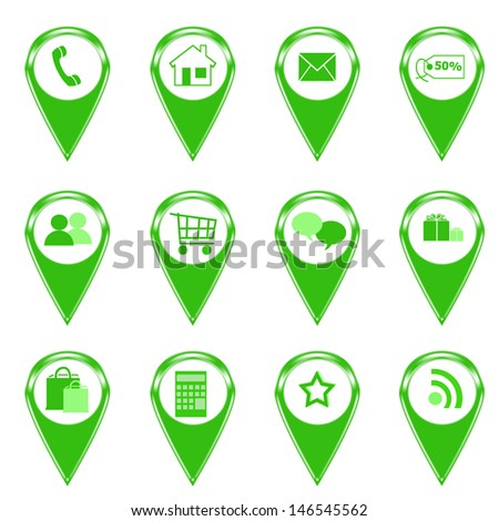 Set of icons for web or markers on maps in green color