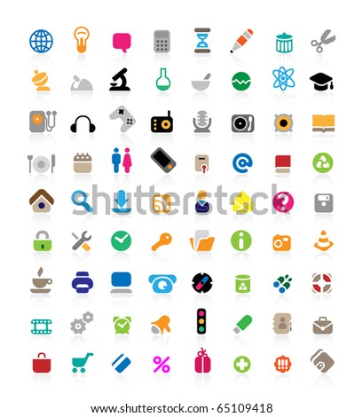 Set of 72 icons for website, computer, business, shopping, science, education and music. Raster version. For vector version of this image, see my portfolio.