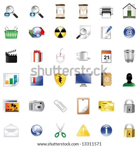 Set of icons for website, icons for network, illustration - stock photo