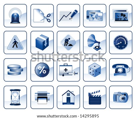 Set of icons for website in blue color, raster version of vector illustration