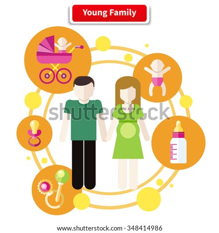 Set of icons in flat design around lovely young family. Family, young couple, young family at home, young family outdoors, happy family. Father, mother, baby. Raster version - stock photo