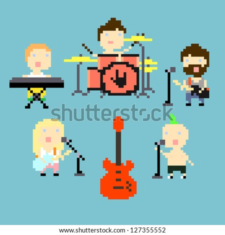 Set of icons on rock band theme in pixel art style, raster illustration - stock photo