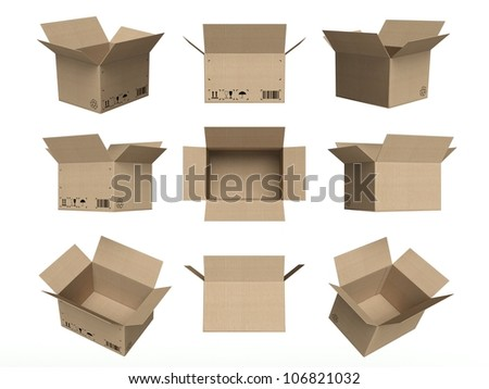 Set of icons, open cardboard boxes isolated on white background - stock photo