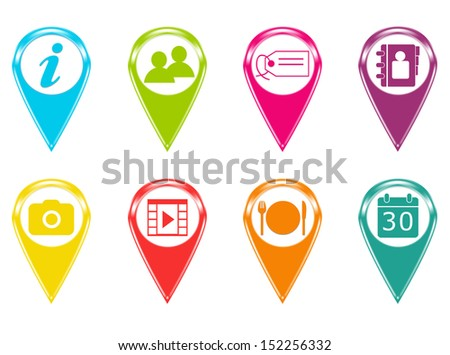 Set of icons or colored markers with symbols - stock photo