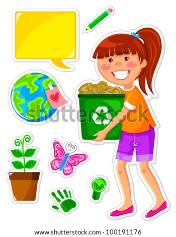 set of icons related to ecology and a girl recycling paper (vector available in my portfolio) - stock photo