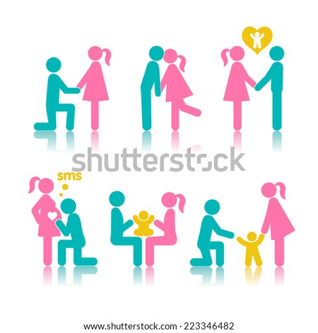 Set of icons stages of creating a family: a meeting of lovers, planning pregnancy, birth and child-rearing. - stock photo