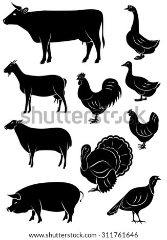 set of icons with farm animals and birds - stock photo