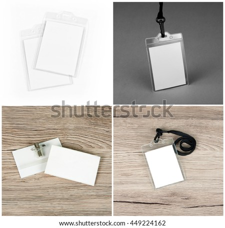 Set of id cards on wooden, grey and white backgrounds - stock photo