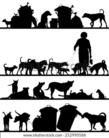 Set of illustrated foreground silhouettes of street dogs in Bangkok - stock photo