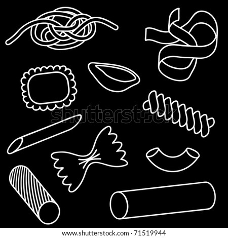 Set of illustrated icons of different pasta shapes - stock photo