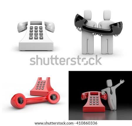 Set of illustration about phone and communication. 3d illustration - stock photo