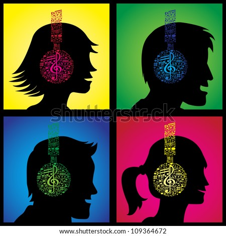 Set of illustrations showing headphones made out of musical notes on happy listeners. - stock photo