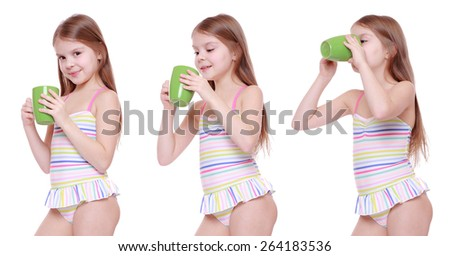 Set of images of adorable little girl in swimsuit with holding cup - stock photo