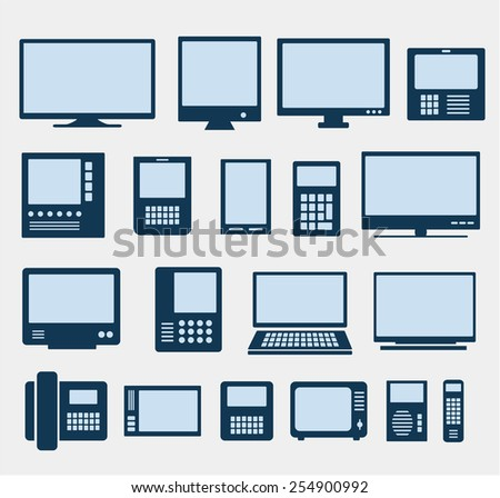 Set of images of different computers and monitors - stock photo