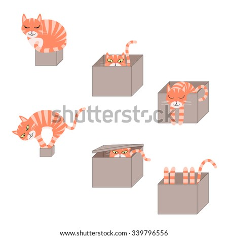 set of images of icons with a cat in a cardboard box - stock photo