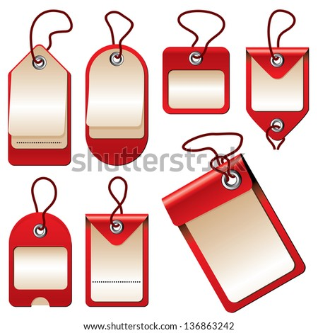 set of images of labels and price tags