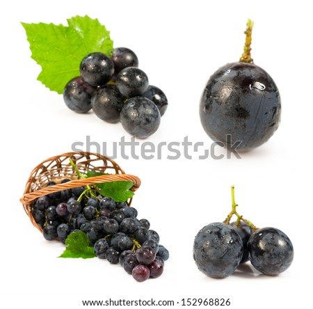 set of images with a blue grapes isolated on white - stock photo