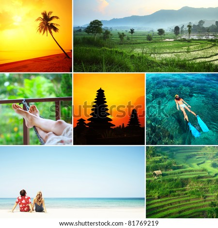 Set of images with recreation theme in tropical country. Bali island - stock photo