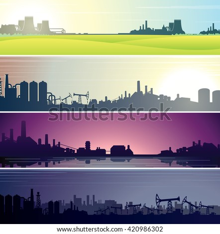 Set of Industrial Backgrounds for Web Banner. Templates Ready for Your Text and Design - stock photo
