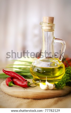 set of ingredients and spice for food cooking - stock photo