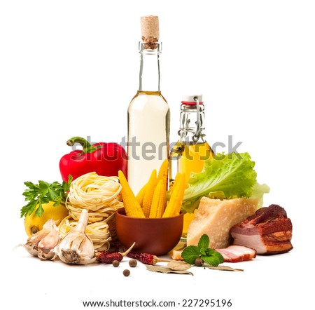 set of ingredients for food cooking isolated on white background
