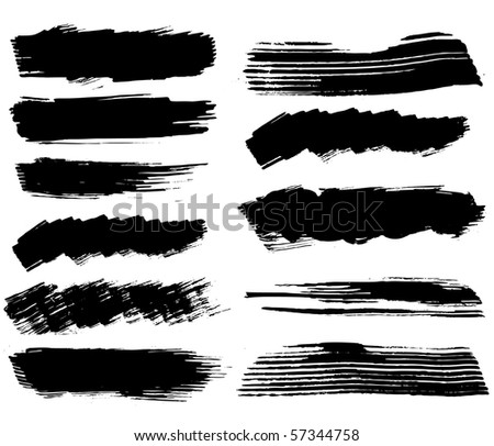 set of ink blots.raster - stock photo