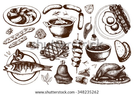 Set of ink hand drawn food illustration isolated on white for restaurant or cafe menu. Vintage food sketch collection. - stock photo