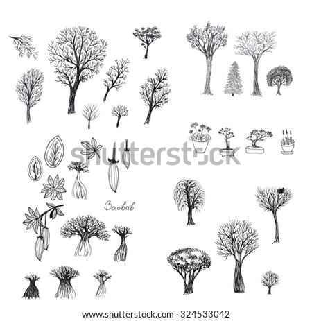Set of ink sketches of trees