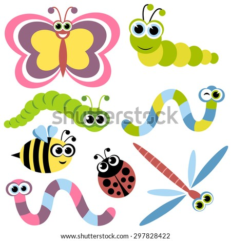 Set of insects. Raster version - stock photo