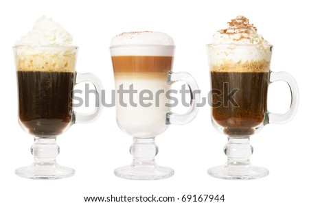 Set of 3 irish coffee isolated on white background - stock photo