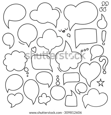 Set of isolated bubbles dialogues. Thought dialog blank design