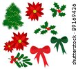 Set of isolated Christmas elements for design (holly berry, mistletoe, poinsettia, tree, bows) jpg - stock photo