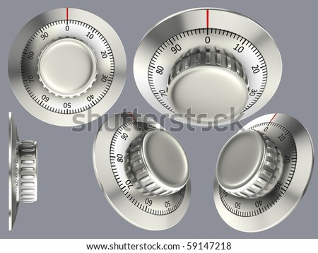 Set of isolated combination locks - stock photo